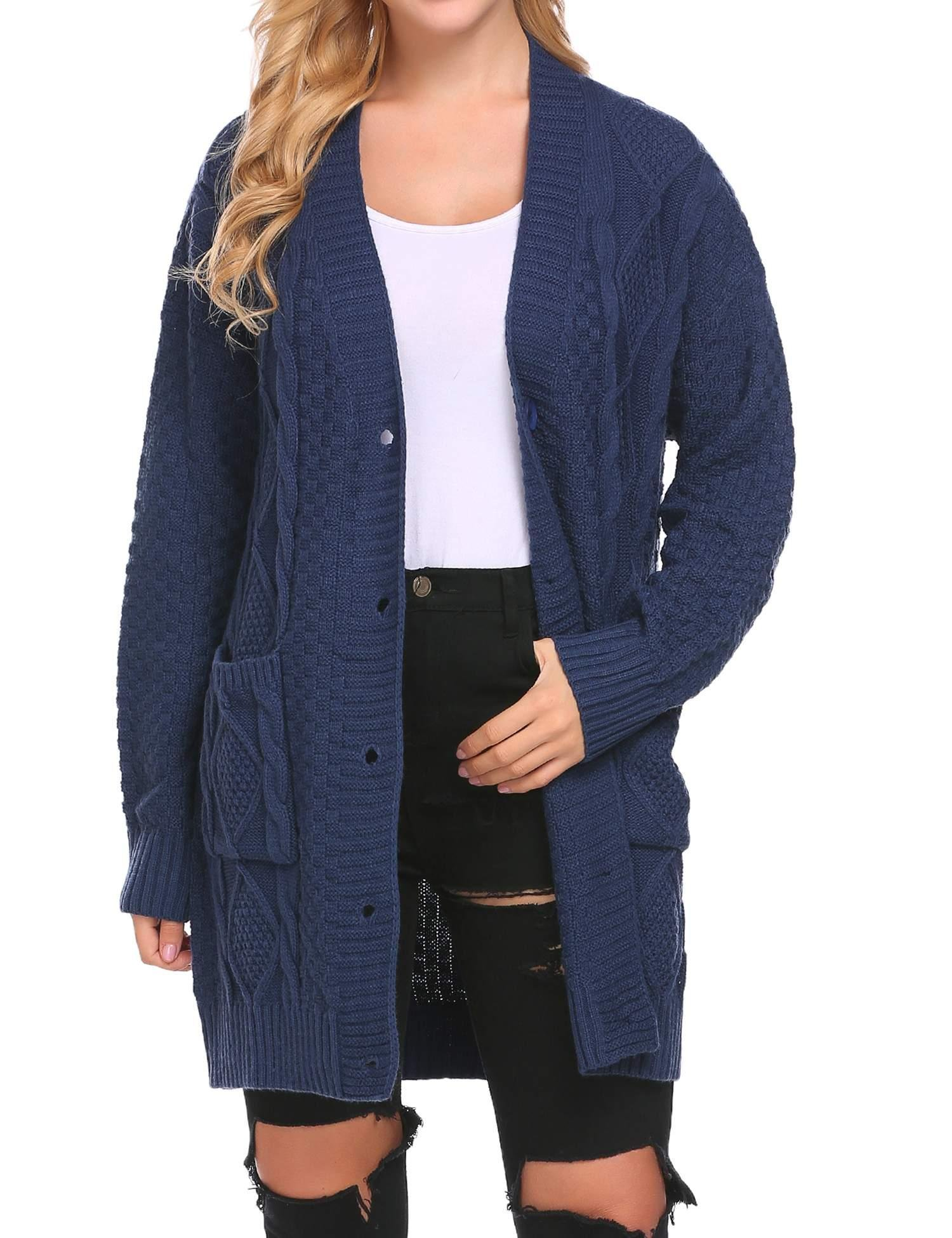 Soteer Women's Cable Twist School Wear Boyfriend Pocket Knit Button Cardigan (Navy, XL)