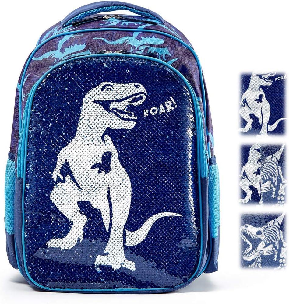 Reversible Sequin School Backpack Lightweight Little KidSchool Bag for Boys Girls Preschool Kindergarten Elementary Dinosaur_Blue