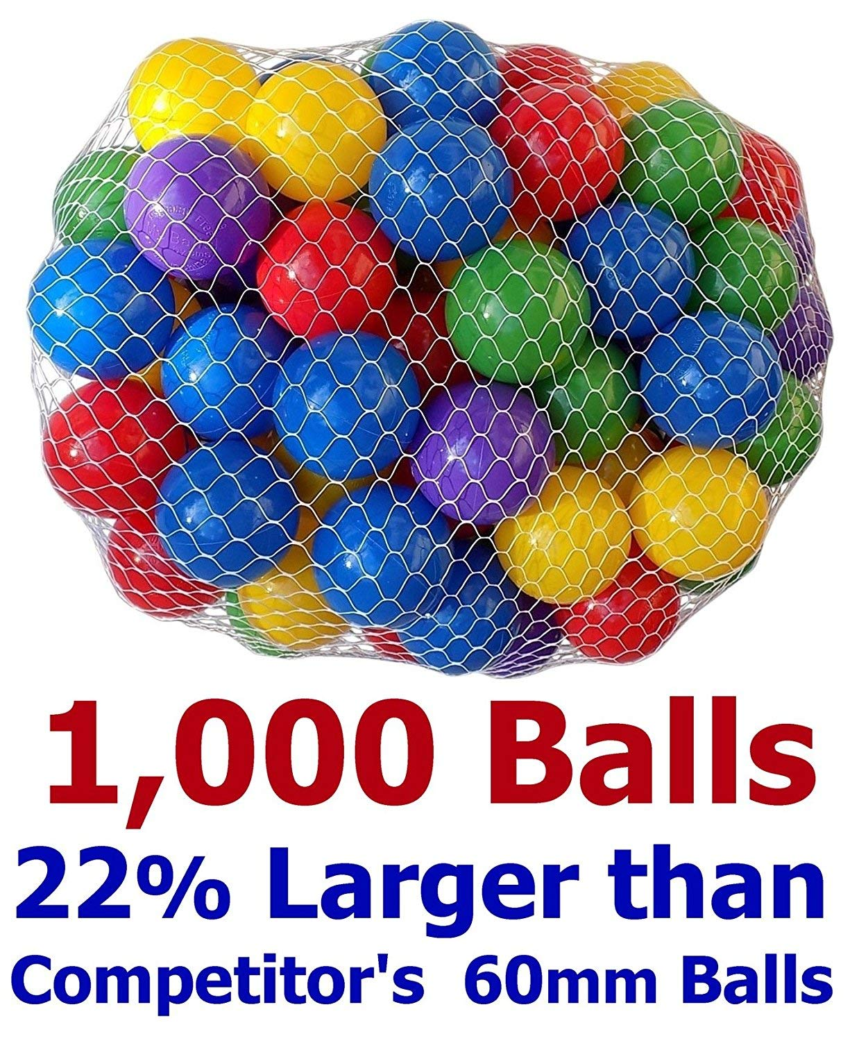 Pack of 1000 Large Size 2.5'' Crush-Proof Ball Pit Balls - 5 Colors, Phthalate Free; BPA Free, Non-Toxic, Non-Recycled Plastic (Best Value Pack of 1,000) by My Balls