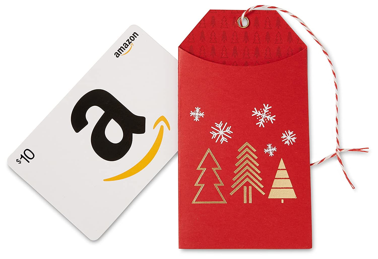 Amazon.com Gift Card in a Gift Tag (Red Holiday Design)