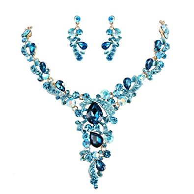 Clearine Women's Vintage Inspired Crystal Butterfly Flower Leaf Vine Statement Necklace Dangle Earrings Set Nhog1GN