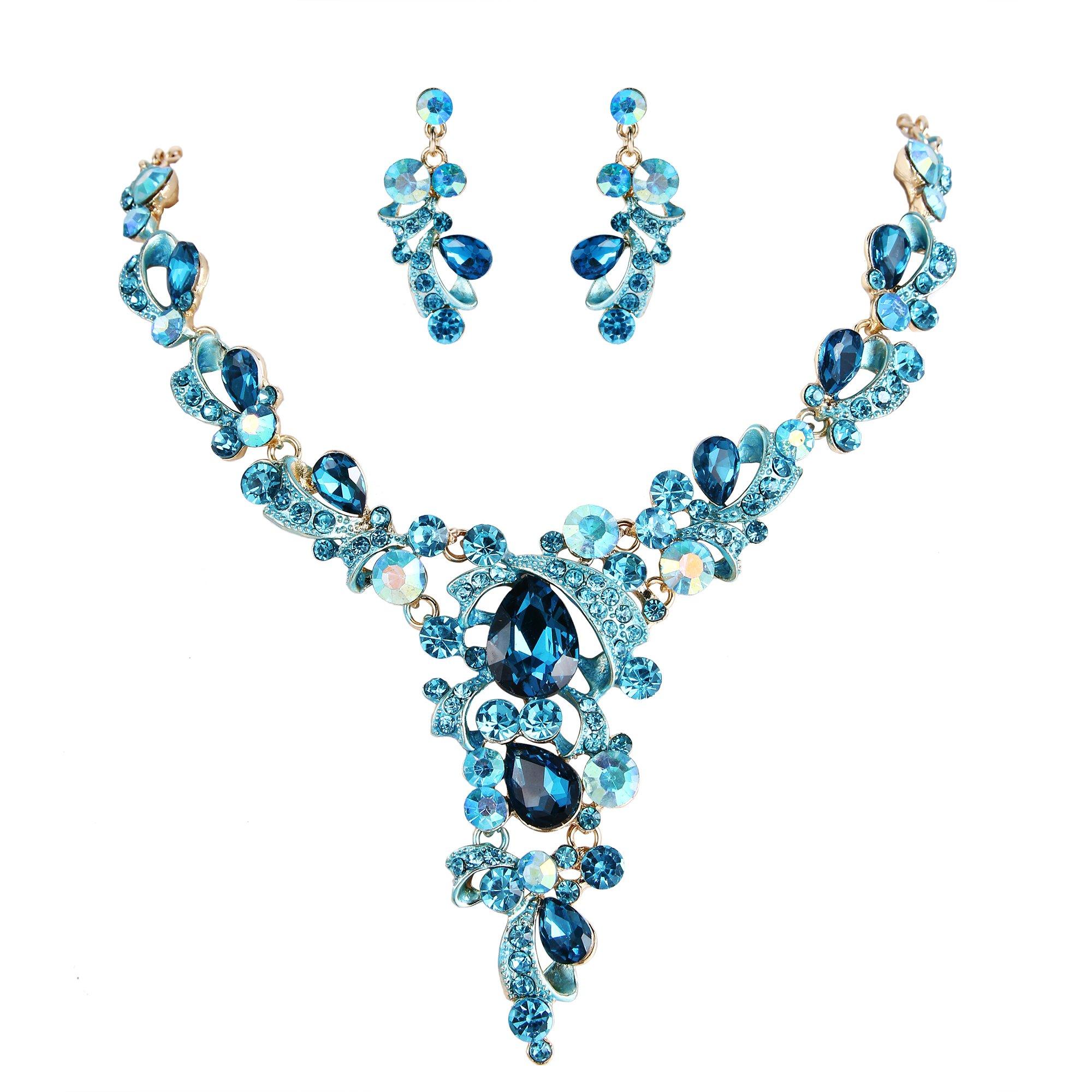 BriLove Women's Wedding Bridal Statement Necklace Dangle Earrings Jewelry Set with Crystal Leaf Vine Teardrop Hollow Design Blue Topaz Color Gold-Tone