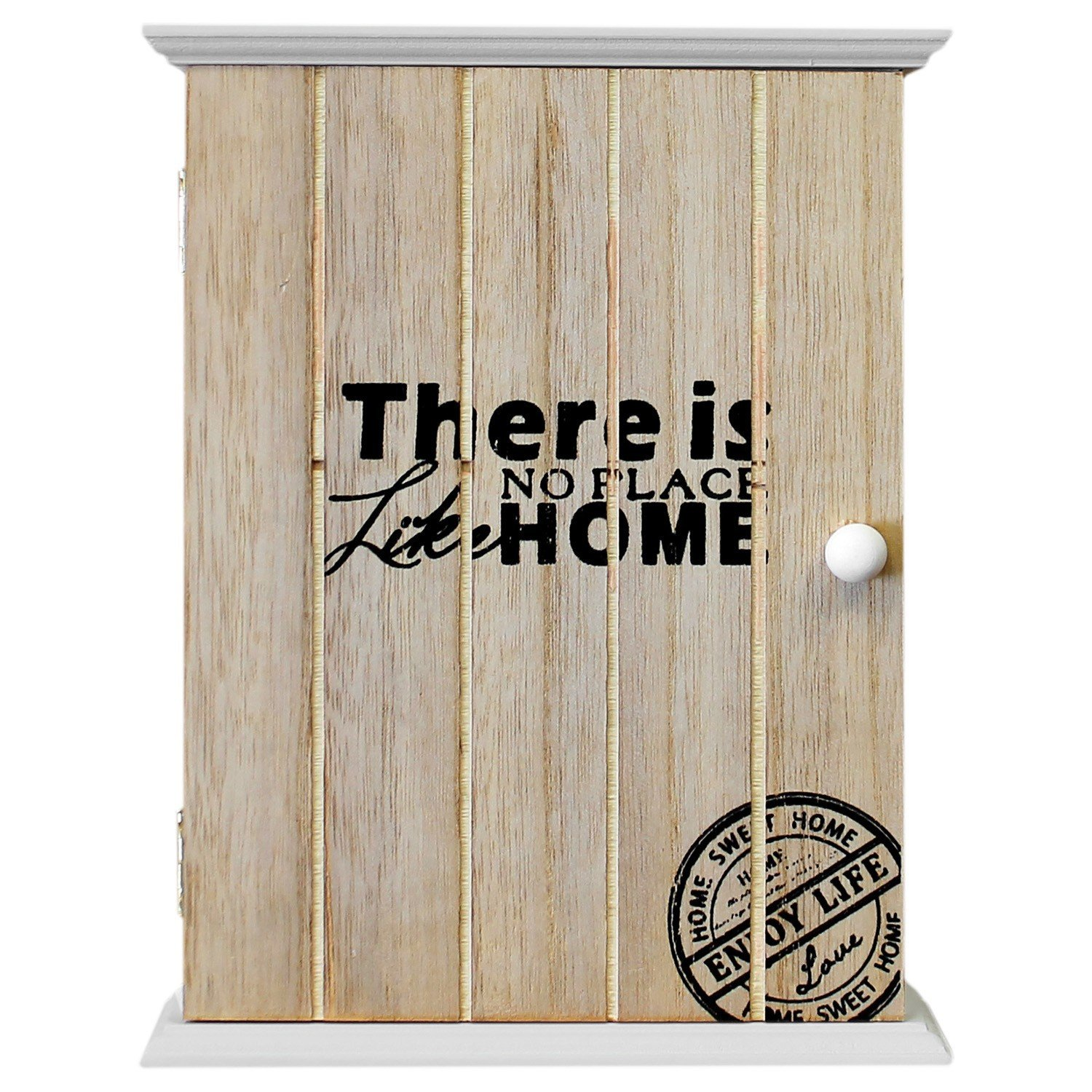 Armario para llaves, pared, armario colgador para llaves, There is no place like home, 18,5 x 24 x 6 cm, 6 ganchos para llaves, natural/blanco