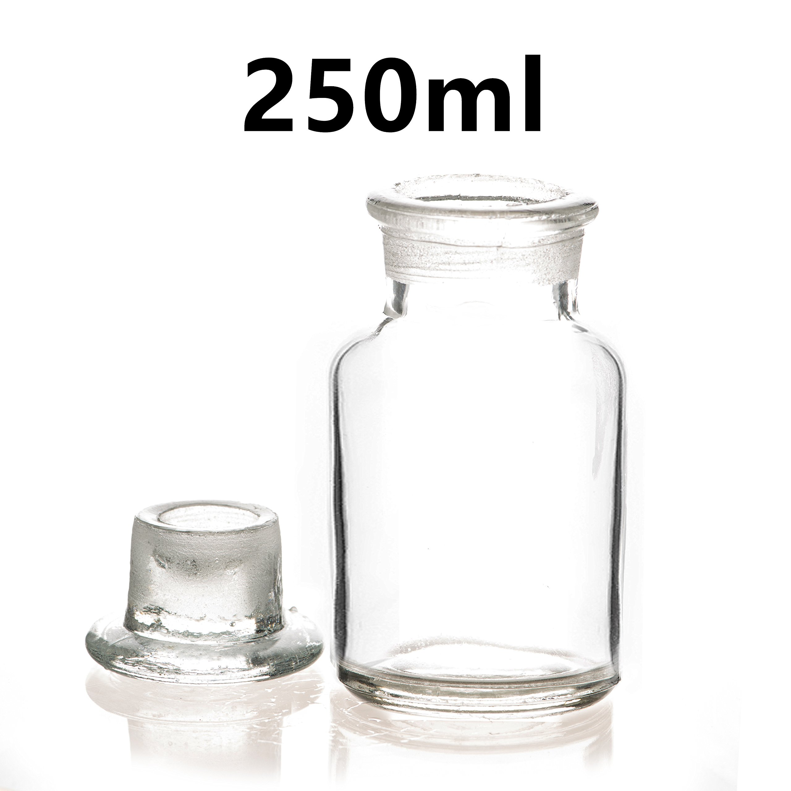 250ml Lab Reagent Sample Bottle Clear Glass Wide Mouth Bottle with Glass Lid Bottle Laboratory Supplies Reagent Sampling Bottle (Pack of 5)