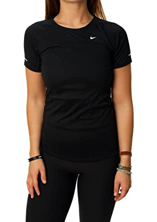 Nike Women's Dri-Fit Miler Short Sleeve Running Shirt-Black-Large