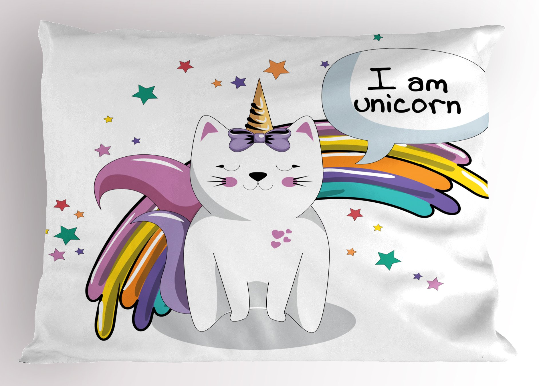 Ambesonne Unicorn Cat Pillow Sham, Fairy Animal with Ice Cream Cone Bow Stars and Rainbow Kids Imagination Fiction, Decorative Standard Size Printed Pillowcase, 26 X 20 inches, Multicolor by Ambesonne
