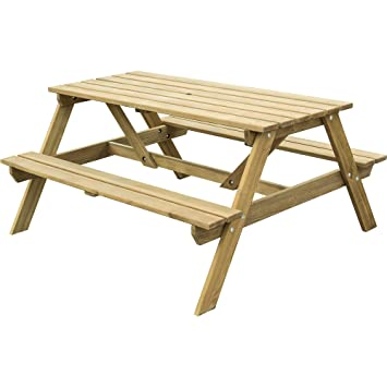 Rowlinson Ft Seater Pressure Treated Wood Picnic Bench Amazonco - 6 sided picnic table