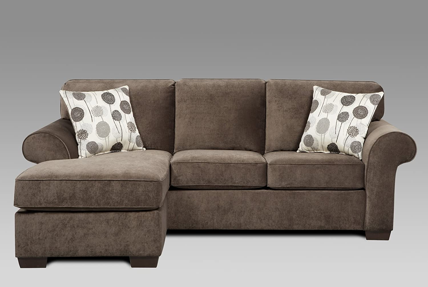 Amazon Com Roundhill Furniture Fabric Sectional Sofa With 2 Pillows Elizabeth Ash Kitchen Dining