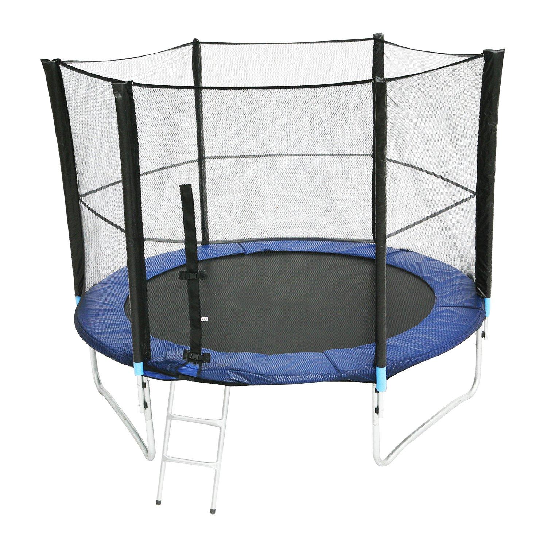 Mojawo® XXL Trampolin Komplettset Gartentrampolin 2,5 Meter (8FT) inkl. Plane, Leiter und Sicherheitsnetz