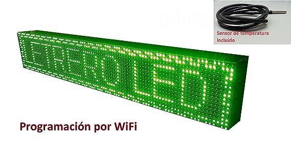 Cartel LED programable por WiFi y sonda de temperatura (96x16 cm, Verde) / Letrero programable / Pantalla programable / Pantalla de texto con movimiento ...