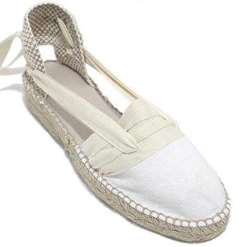Espardenya.cat Alpargatas Hechas a Mano Tradicionales de Media Cuña Diseño Tres Vetas Color Beige: Amazon.es: Zapatos y complementos