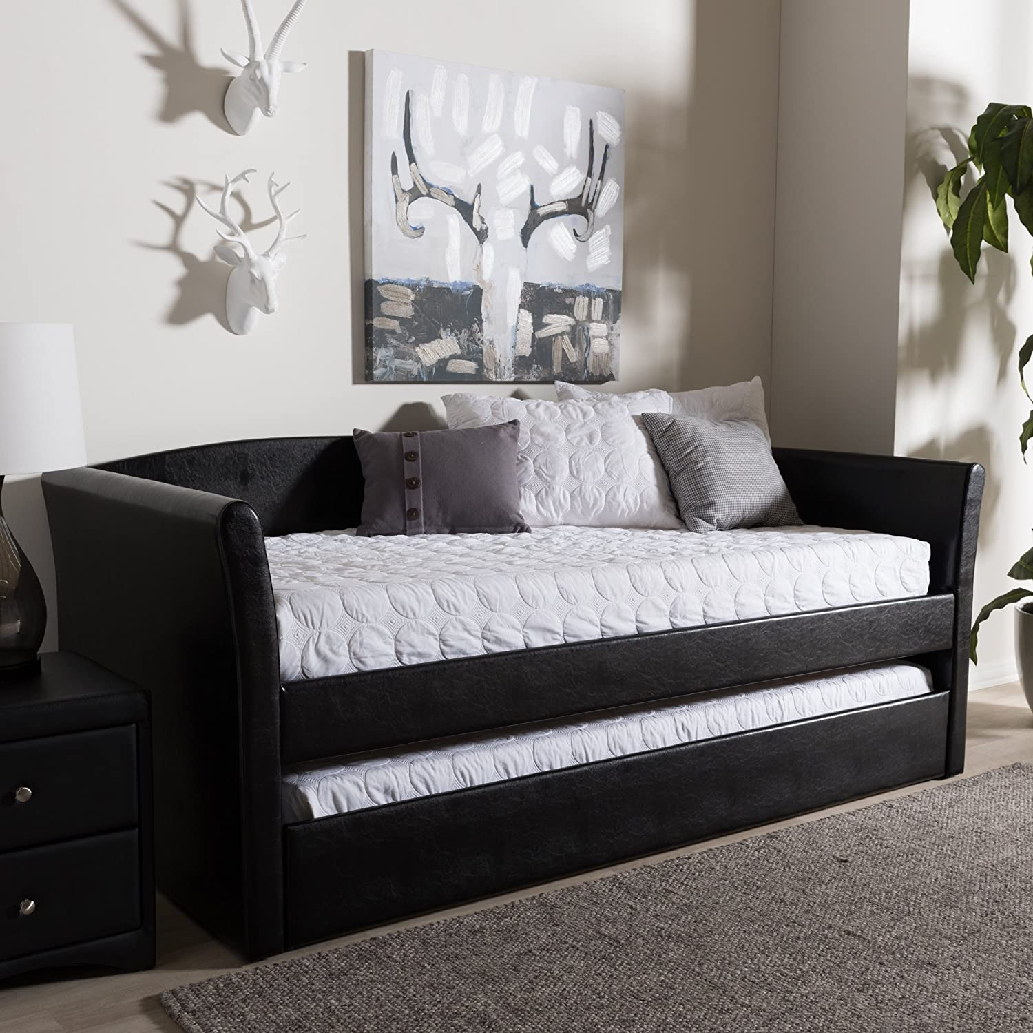Baxton Studio Daybed with Guest Trundle in Black