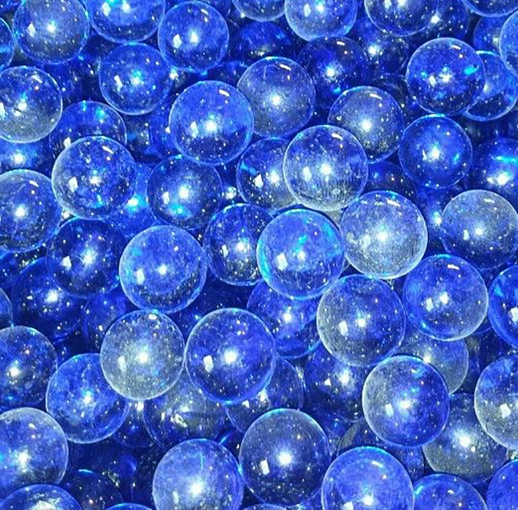 Unique & Custom {9/16'' Inch} Set Of 200 Small ''Round'' Clear Marbles Made of Glass for Filling Vases, Games & Decor w/ Simple Cobalt Iridescent Cool Oceanic Shimmering Design [Blue Colors]