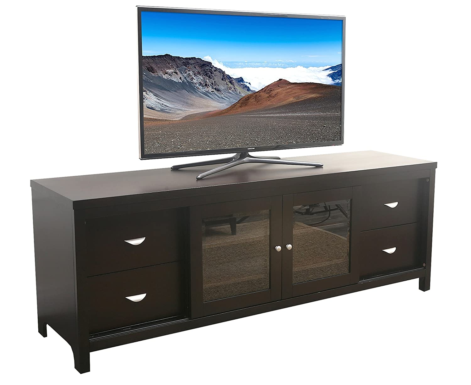 amazon com abbyson signature solid oak tv console home u0026 kitchen