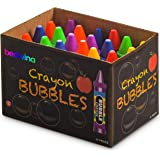 Crayon Bubbles for Kids - (Pack of 24) Bulk Bubble Wand Bottles in Assorted Crayons Shapes and Colors - Non-Toxic Blowing Bub