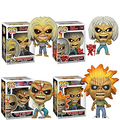 POP! Funko Rocks Iron Maiden (Skeleton Eddie) Set of 4 Iron Maiden, Killers, Number of The Beast and Piece of Mind Vinyl Figures: Toys & Games