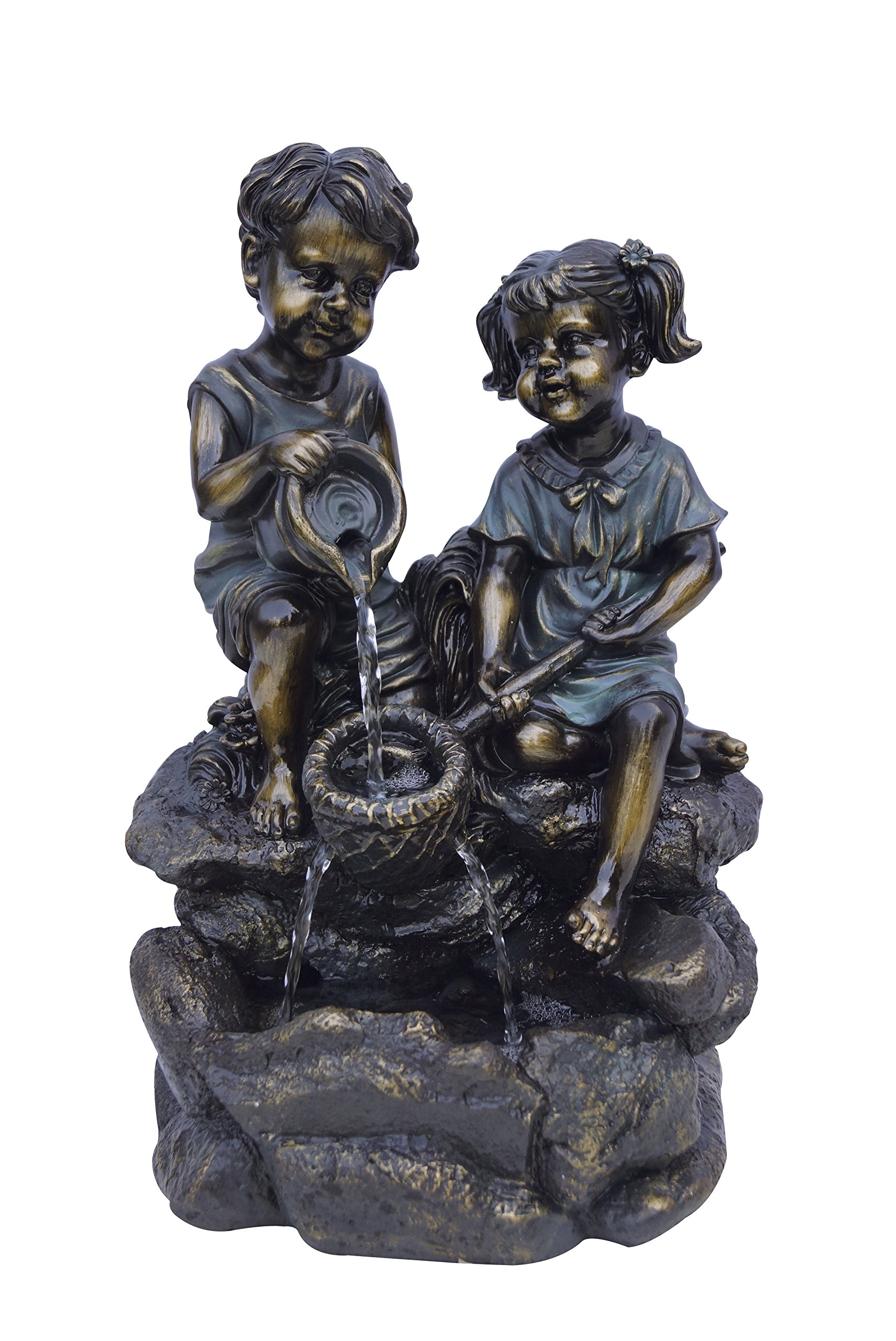 Alpine GXT794S 2-Bronze Kids Playing with Water Tabletop Fountain, 14''