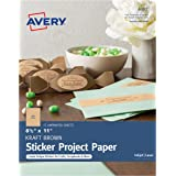 "Avery Full-Sheet Sticker Project Paper, Kraft Brown, Removable Adhesive, 8-1/2"" x 11"", Pack of 15 (4392)"