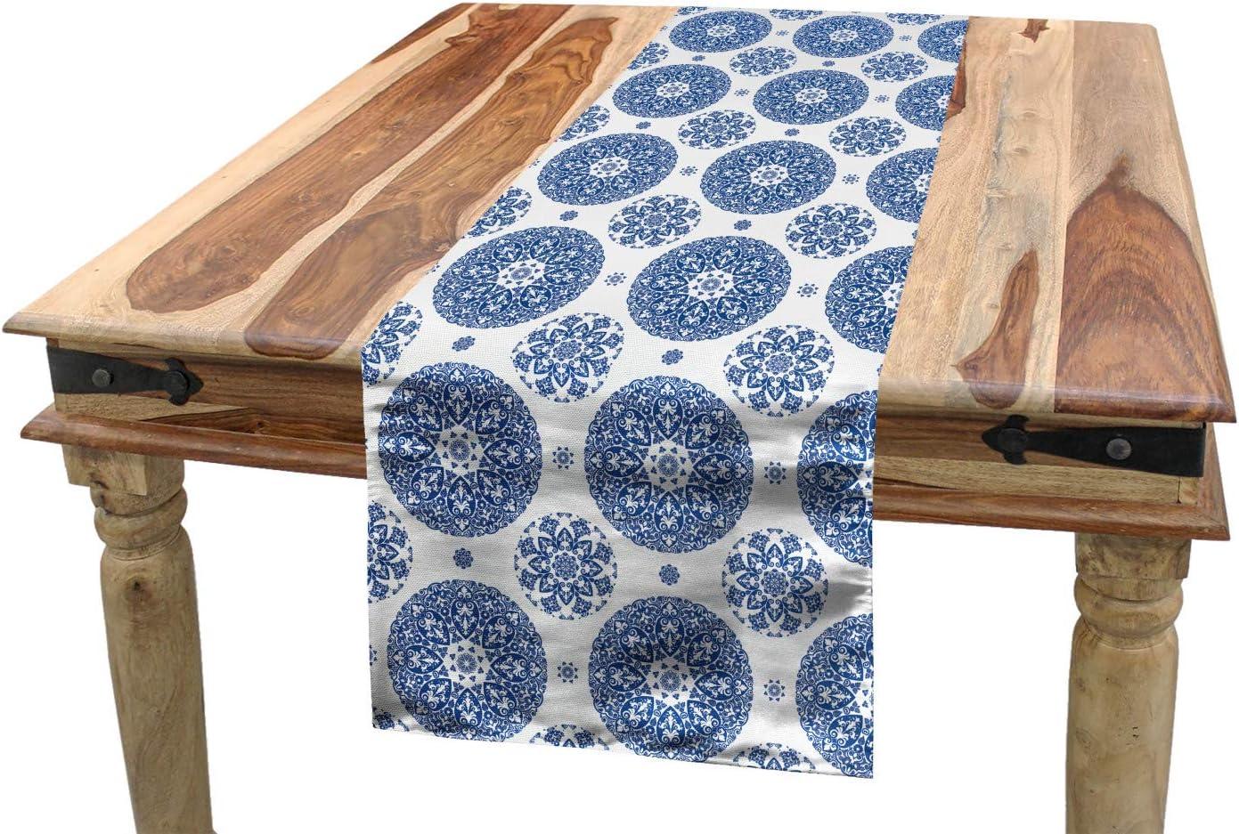 40 x 180 cm D/écoratif Lavable en Machine et Facile /à Nettoyer ABAKUHAUS Mandala Chemin de Table Cadres Vintage Oriental Aubergine Blanc