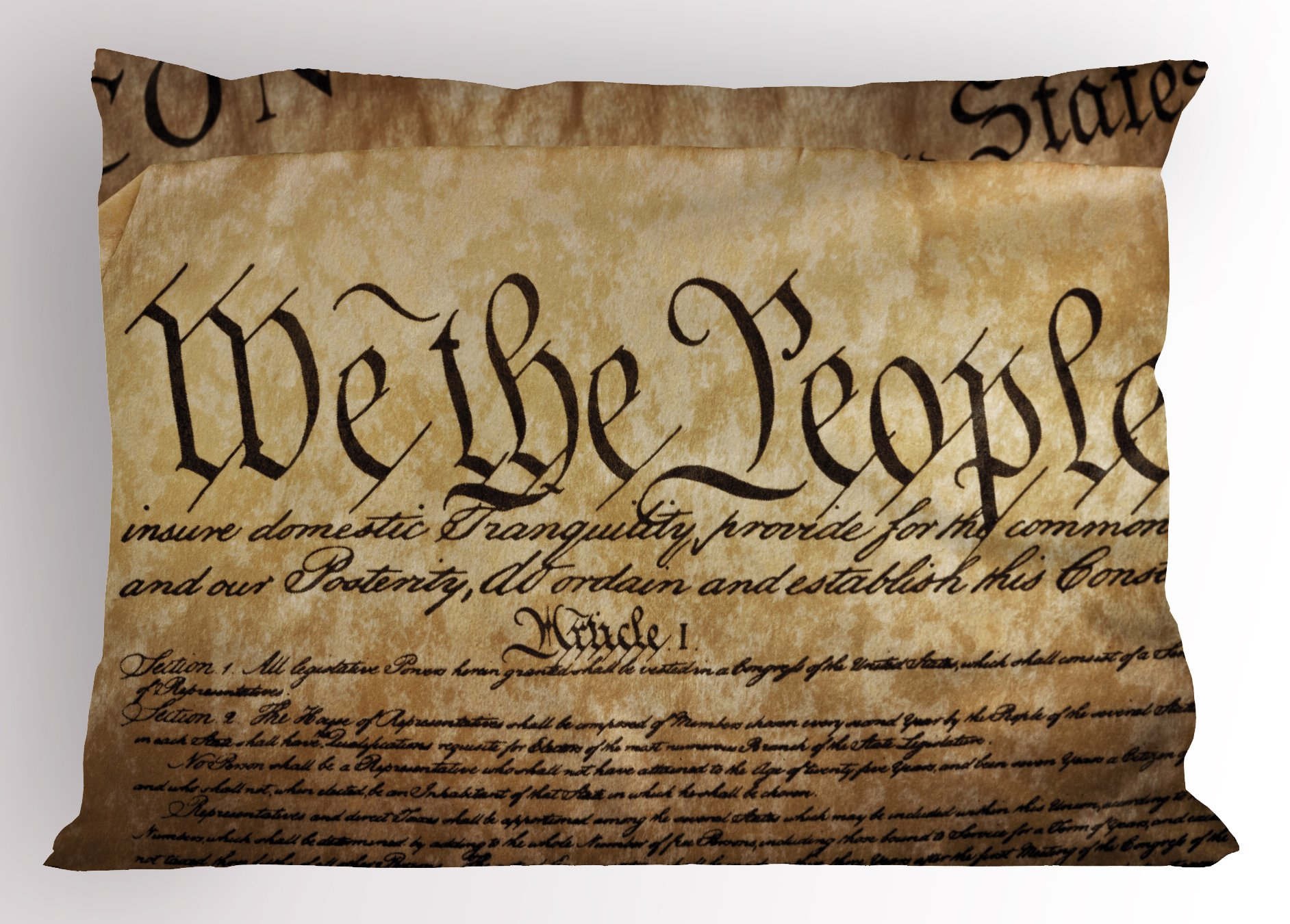 Ambesonne United States Pillow Sham, Vintage Constitution Text of America National Glory Fourth of July Image, Decorative Standard Queen Size Printed Pillowcase, 30 X 20 inches, Light Brown