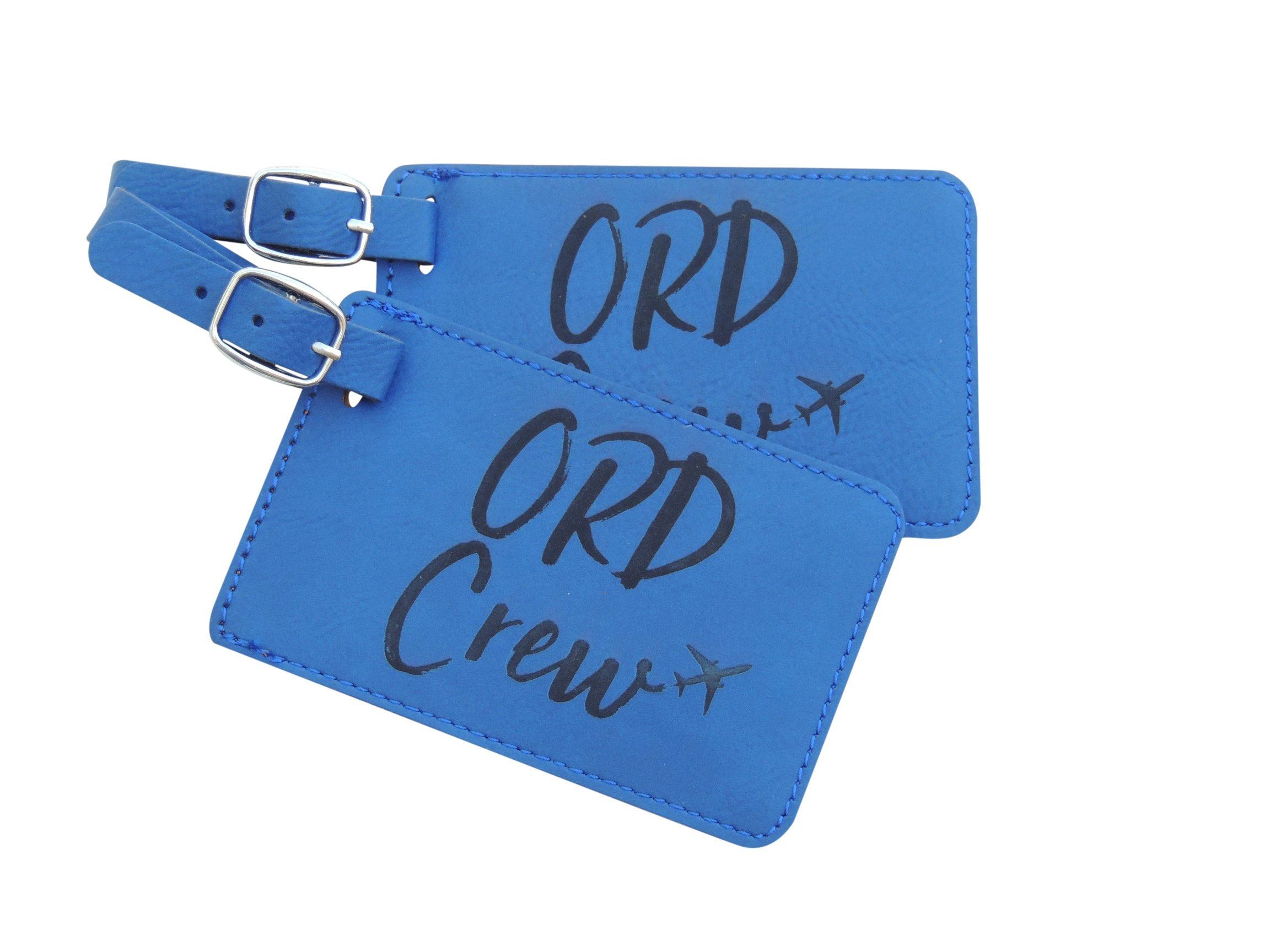 Chicago Crew Base Bag Tags for Flight Attendants, United Airlines, Set of Two (Blue)