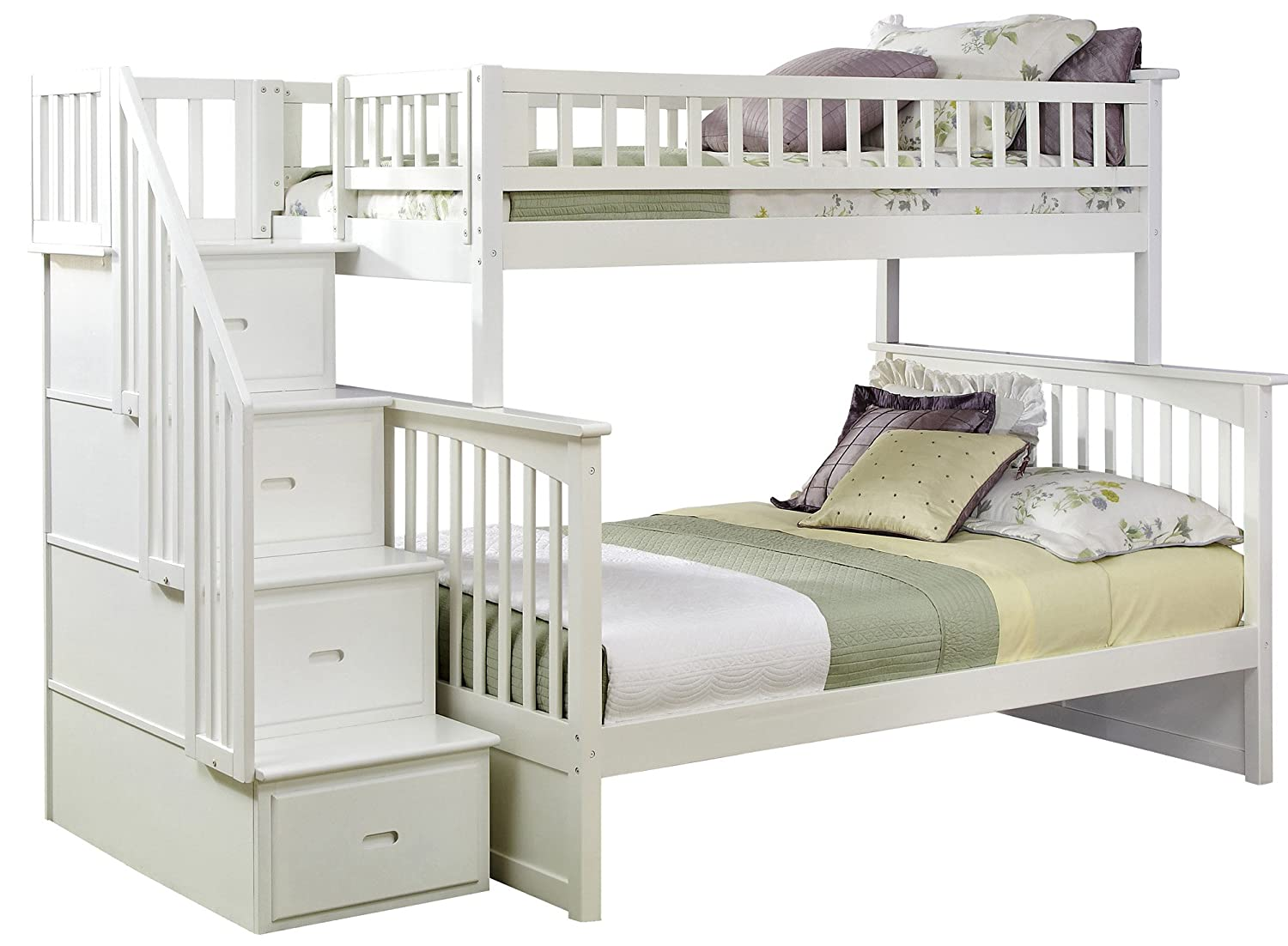 amazoncom columbia staircase bunk bed twin over full white kitchen u0026 dining