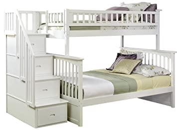 Columbia Staircase Bunk Bed Twin Over Full White