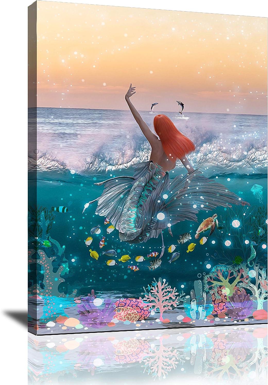 Mermaid Decor Bathroom Wall Decor Room Decor for Teen Girls Wall Art for Bedroom Living Room Canvas Wall Art Blue Ocean Sea Fish Pictures Wall Decor Framed Wall Art