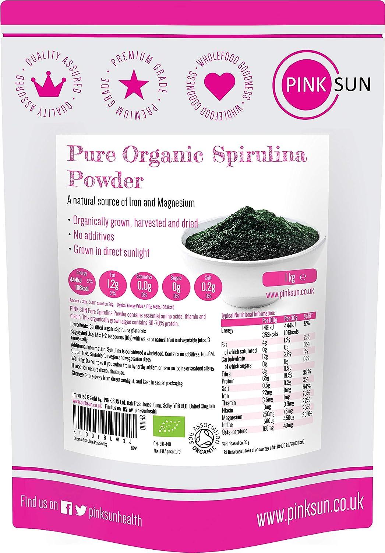PINK SUN Espirulina Ecológica en Polvo (o 500g) 1 kg Orgánica Alga Pura Vegetariano Vegano sin Gluten No OGM Bio 100% Natural Organic Spirulina Powder 1000g Bulk