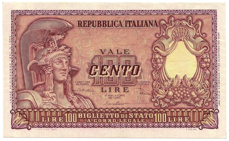 Cartamoneta  100 Lire Biglietto di Stato Italia ELMATA di Cristina 31 12 1951 SPL+