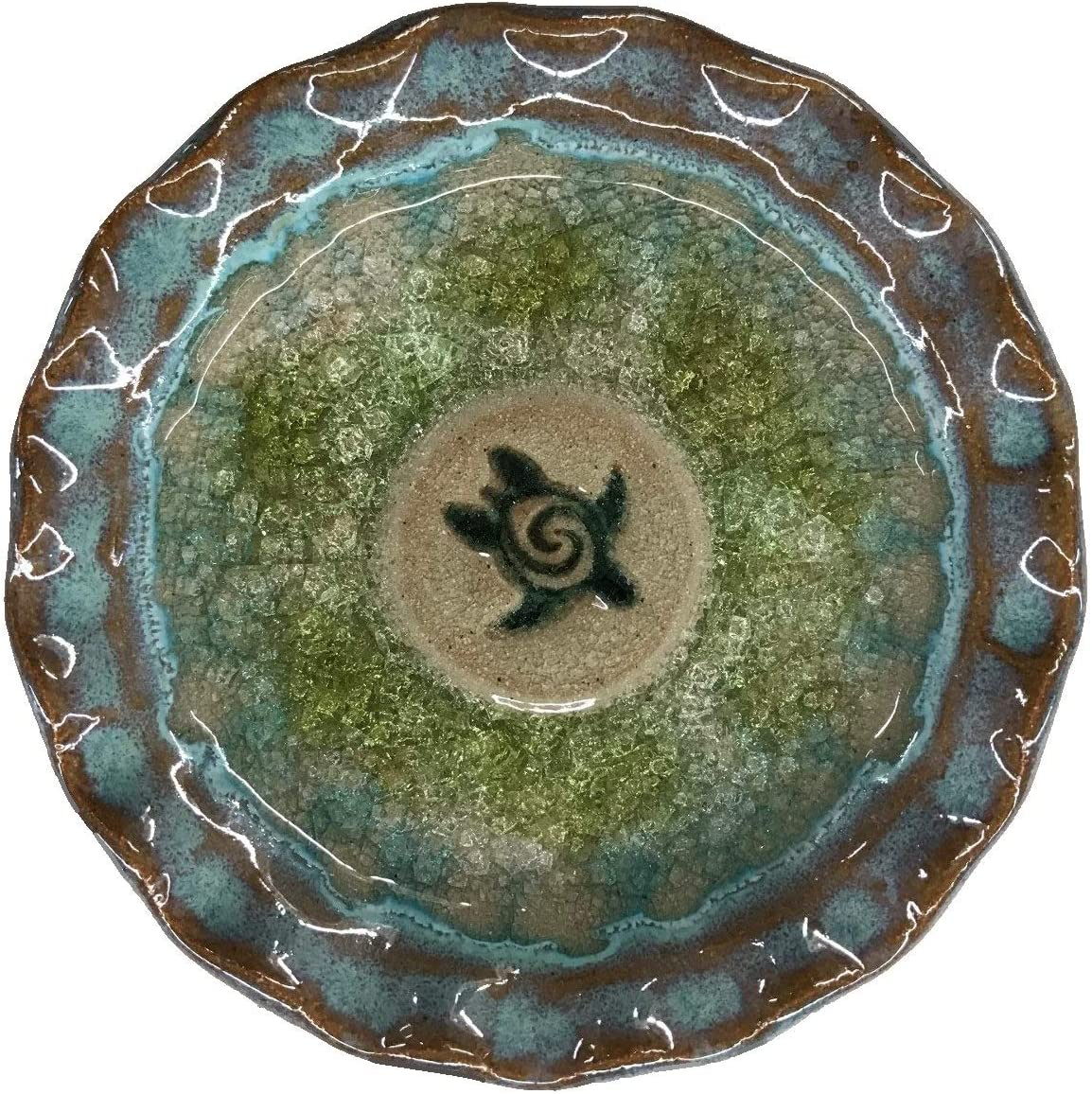 B Artisan Series Glazed Pottery Sea Turtle Icon Decorative Only Dish 4.75 Inches in Diameter