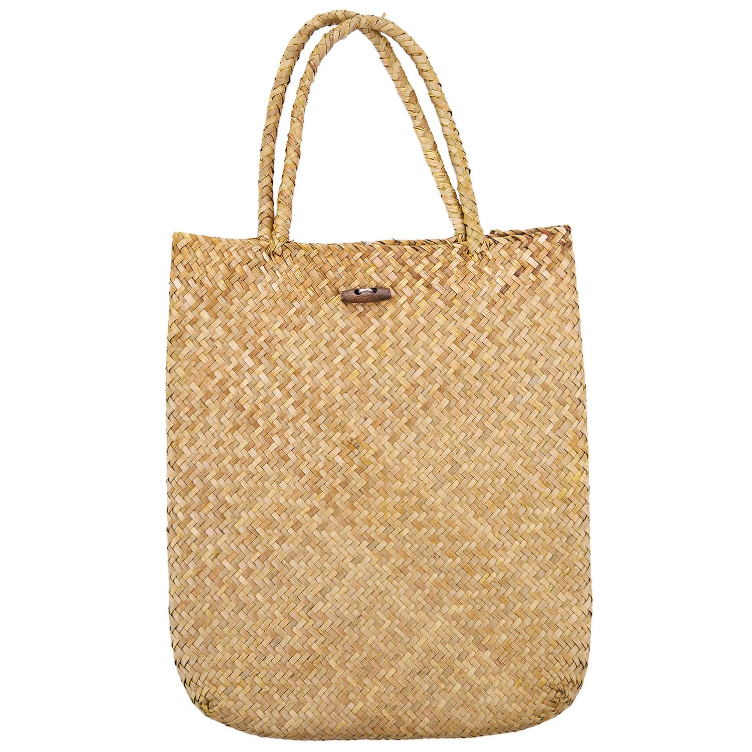 f13dac72b5b4 SODIAL Summer Beach Bag Rattan grass Weaved Casual Tote Shopping ...