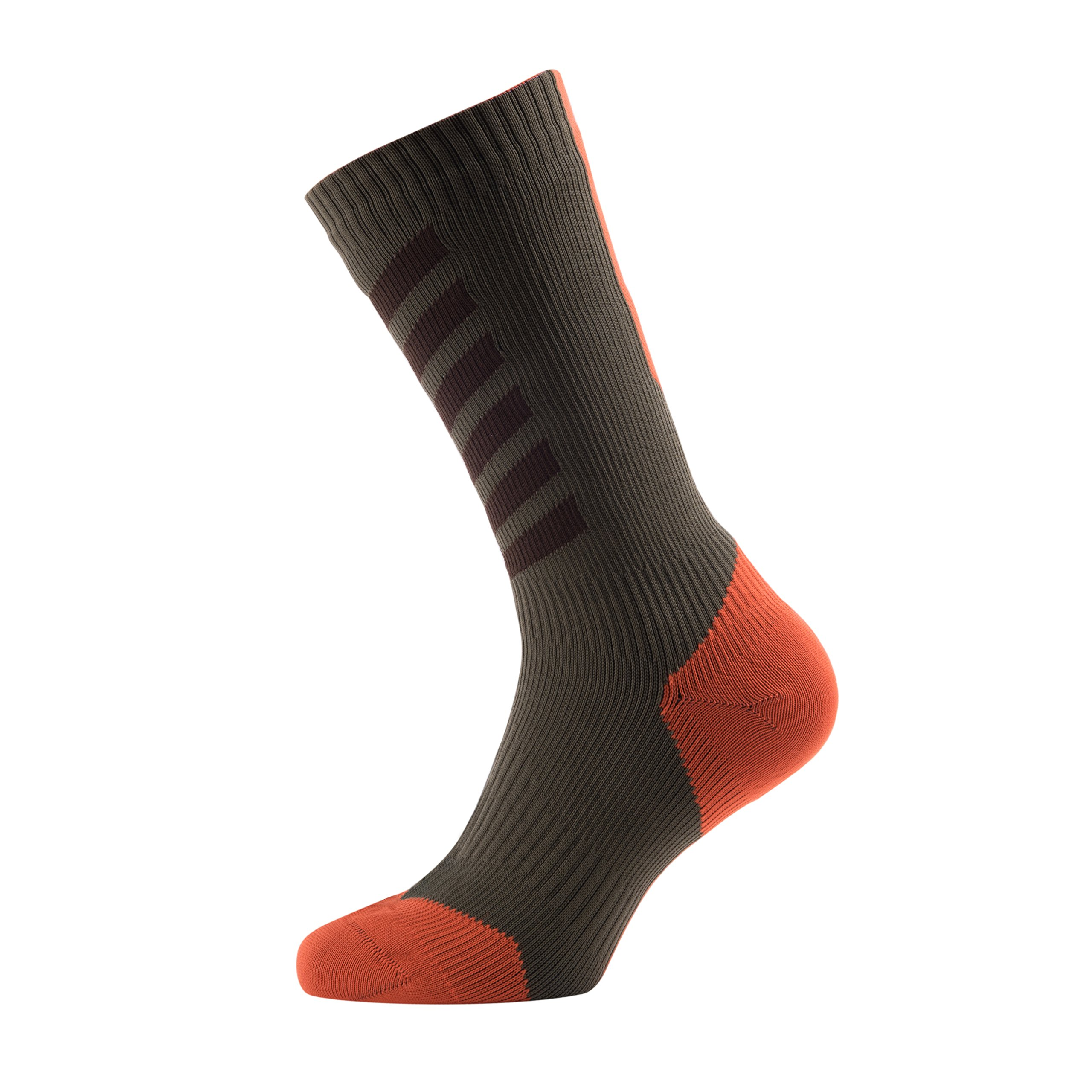 SEALSKINZ MTB Mid Mid Socks with Hydrostop, Small - DK Olive/Mud/Orange. With a Helicase brand sock ring by SEALSKINZ