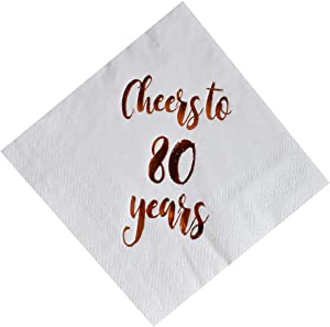 Cheers to 80 Years Cocktail Napkins, 50-Pack 3ply White Rose Gold 80th Birthday Dinner Celebration Party Decoration Napkin