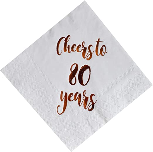Cheers to 80 Years Cocktail Napkins, 80th Birthday Gift