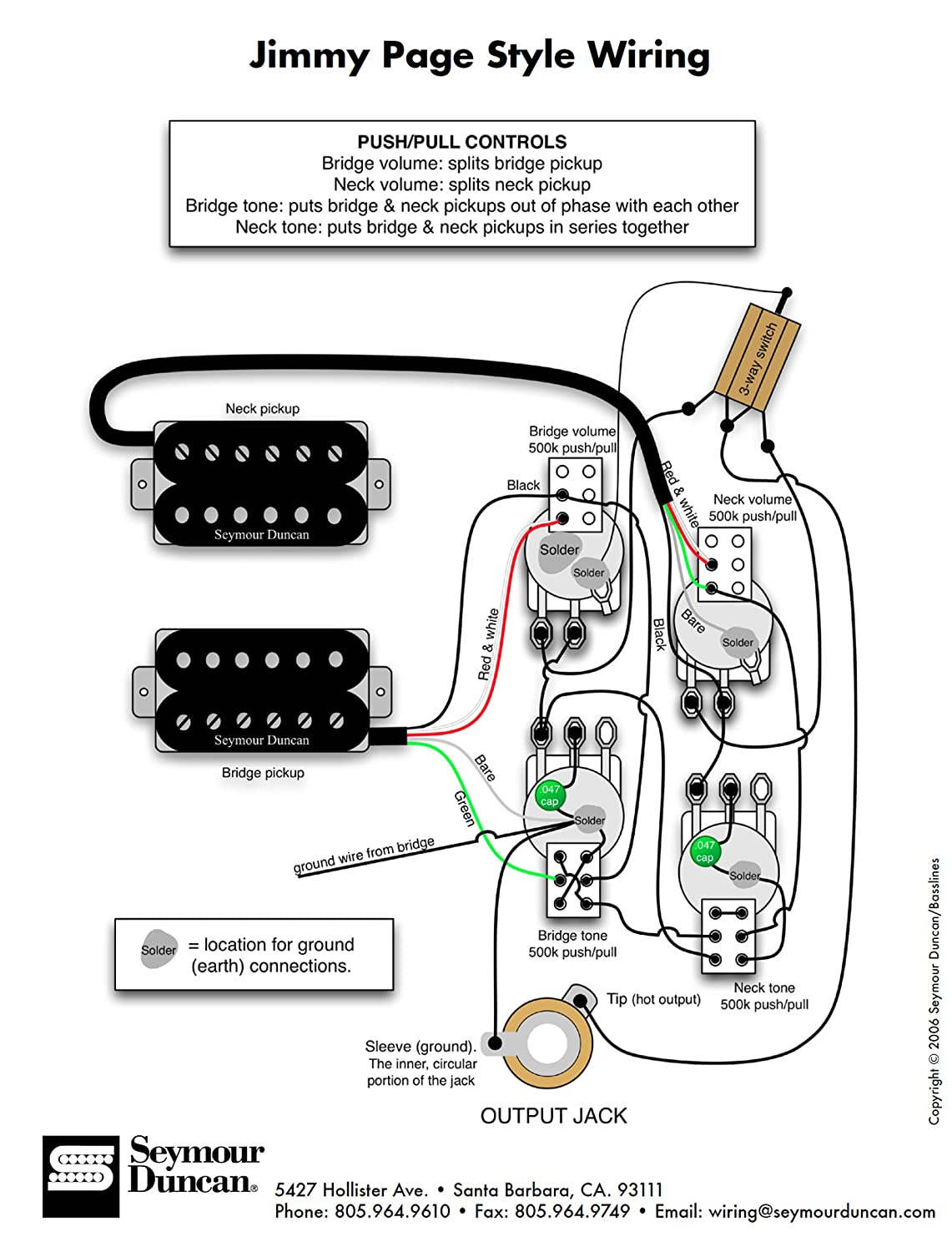 81iWp38GjsL._SL1500_ amazon com 920d custom shop les paul jimmy page wiring harness w les paul coil tap wiring diagram at fashall.co