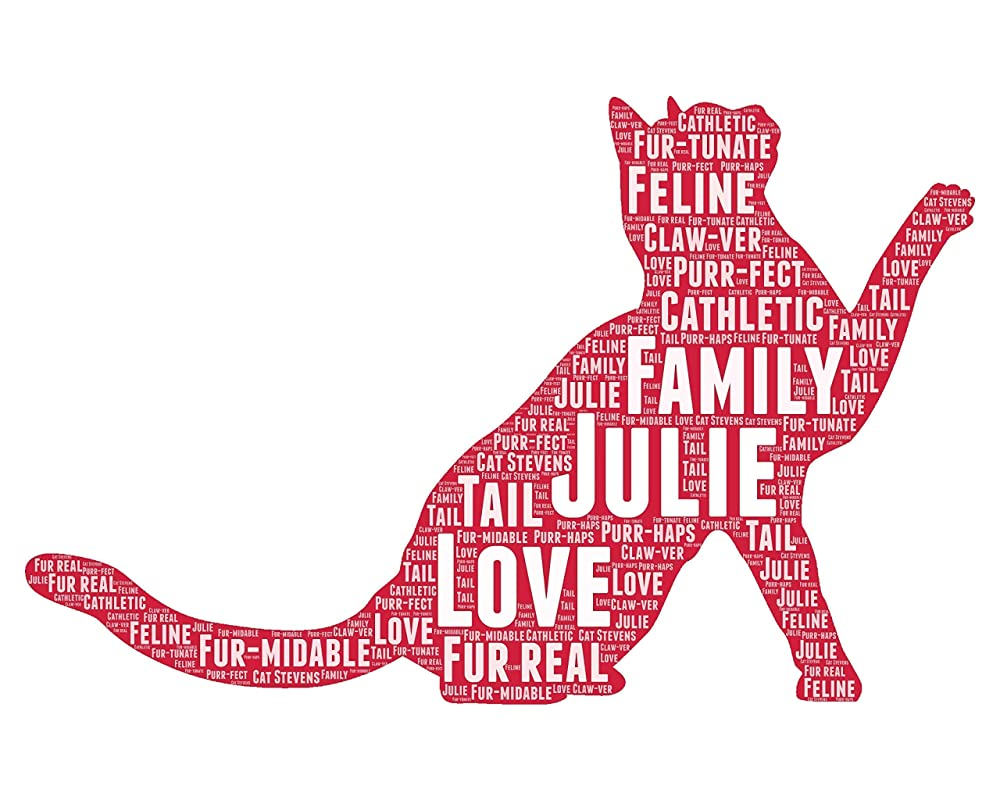 Cat Gifts for Pet Lovers - Personalized Cat Gift for Women - Animal Pet Typography Wordle Wordart Portrait Wall Decor Print 8x10 Inch…