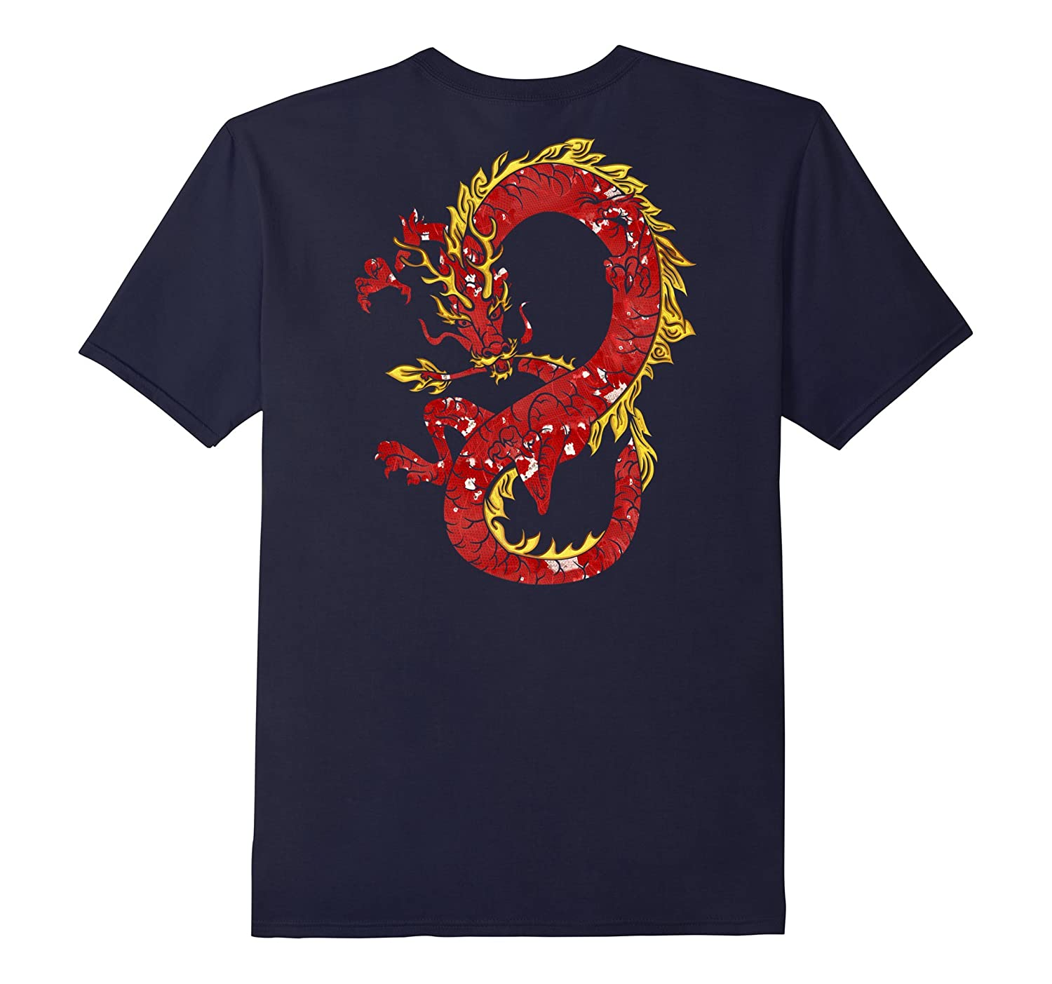 Back - Asian Japanese Chinese Dragon In Red And Gold T-shirt-FL