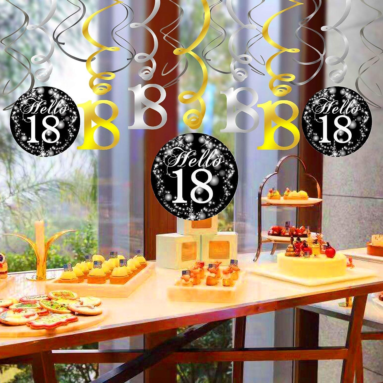 Amazon.com: Adorno de cumpleaños 18 negro y dorado, Konsait ...