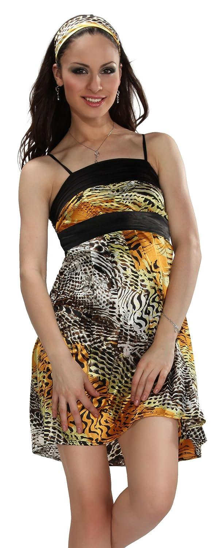 Samantha Look Sommerkleid mit Tigermuster gelb Polyester Kleid