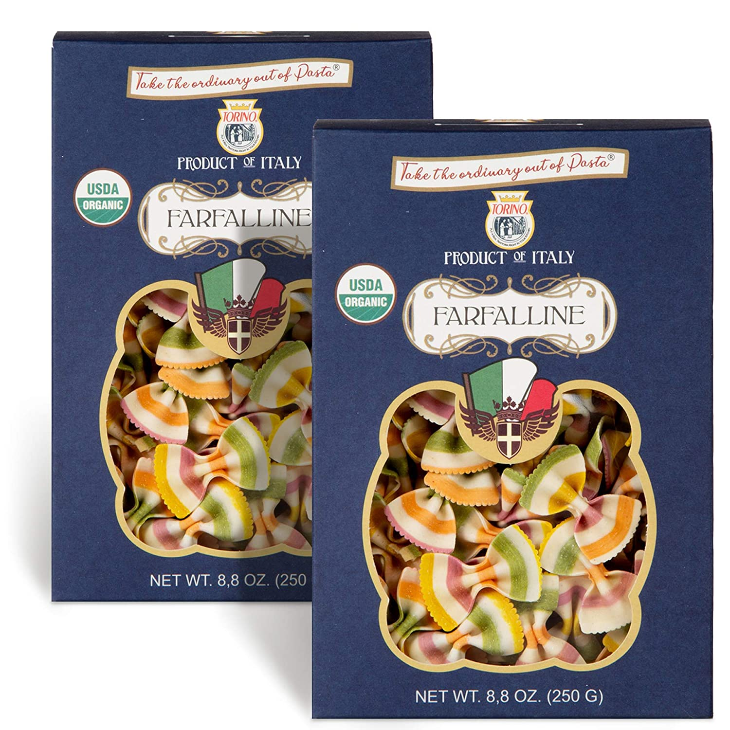 Real Torino Organic Italian Bowtie Pasta (Farfalline, 2-Pack)   Fancy Rainbow Pasta Noodles - Handmade and Imported from Italy   All natural - Colored from Vegetables - 8.8 oz per box
