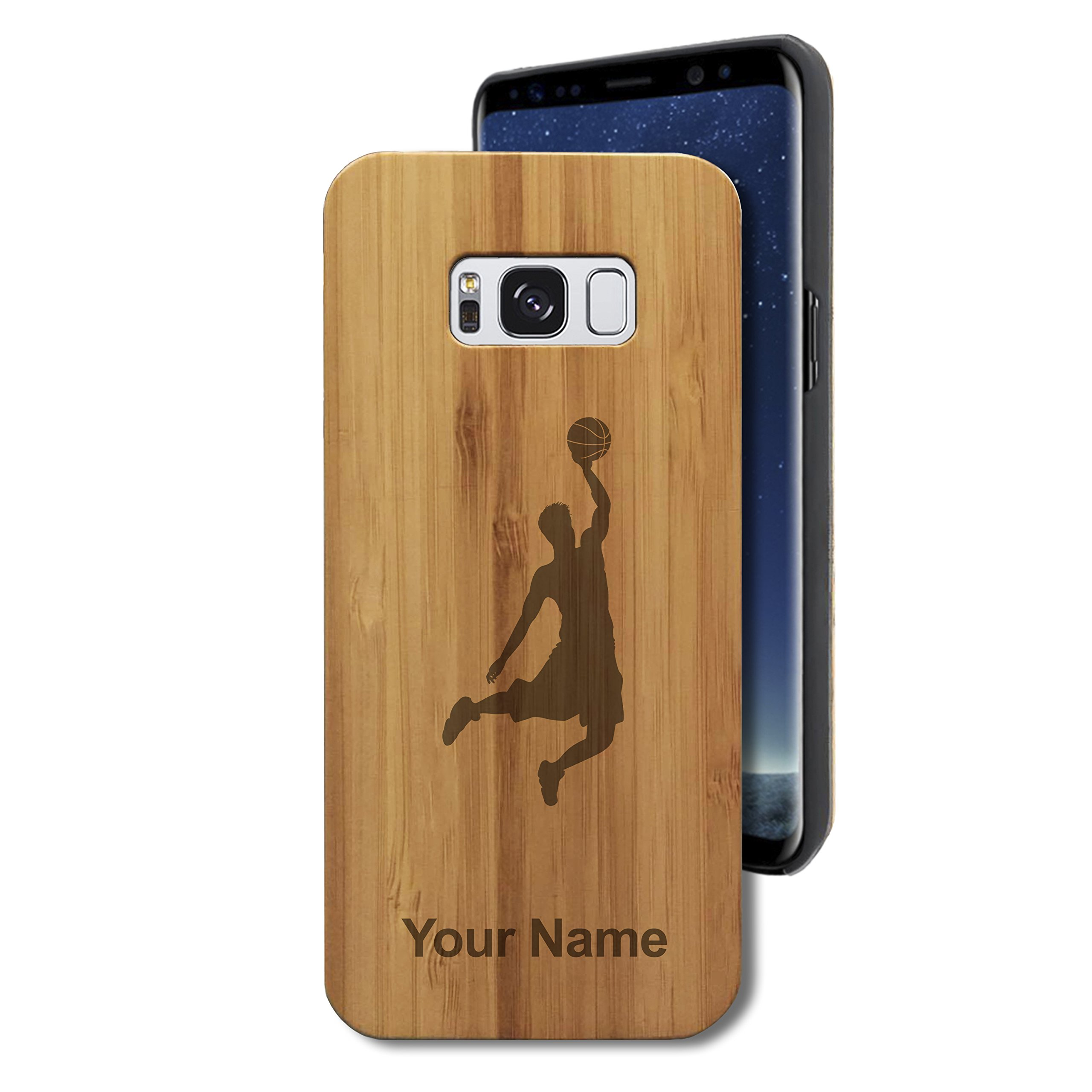 Bamboo Case for Galaxy S8 - Basketball Slam Dunk Man - Personalized Engraving Included