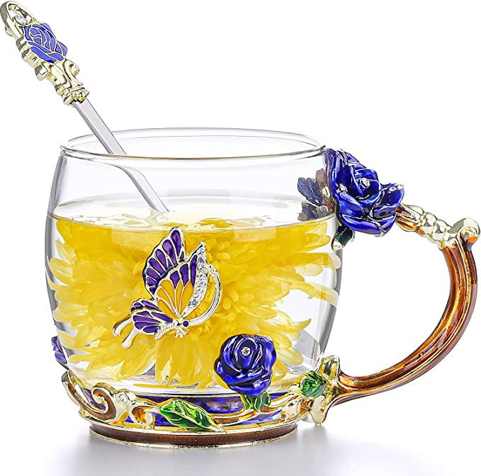 HOWAF Enamel Glass Mug Flower Tea Cup Crystal Lead-Free Glass Coffee Cups with Spoon Coaster Card Gifts for Women Wife Mum Teacher Friends Birthday Mother Day Valentines Day Wedding Anniversary