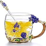 COAWG Glass Tea Cup,11oz Blue Rose Lead-Free Handmade Glass Tea Coffee Mug Flower for Women Gradutation Girl Birthday…