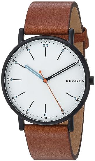 Skagen Men's Signatur Stainless Steel Quartz Watch with Leather Calfskin Strap, Brown, 20 (Model: SKW6374) best minimalist watches for men