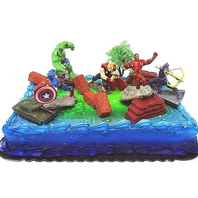 Brilliant Avengers 15 Piece Birthday Cake Topper Set Featuring Personalised Birthday Cards Veneteletsinfo