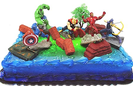 Amazon Avengers 15 Piece Birthday Cake Topper Set Featuring Captain America Iron Man Incredible Hulk Hawkeye Thor And Themed Decorative Accessories