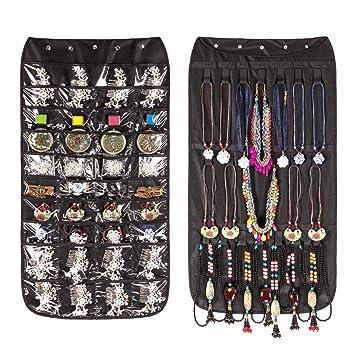 Jewelry Organizer Hanging Bag 40 Pockets U0026 20 Hook And Loop Tabs Earrings  Necklace