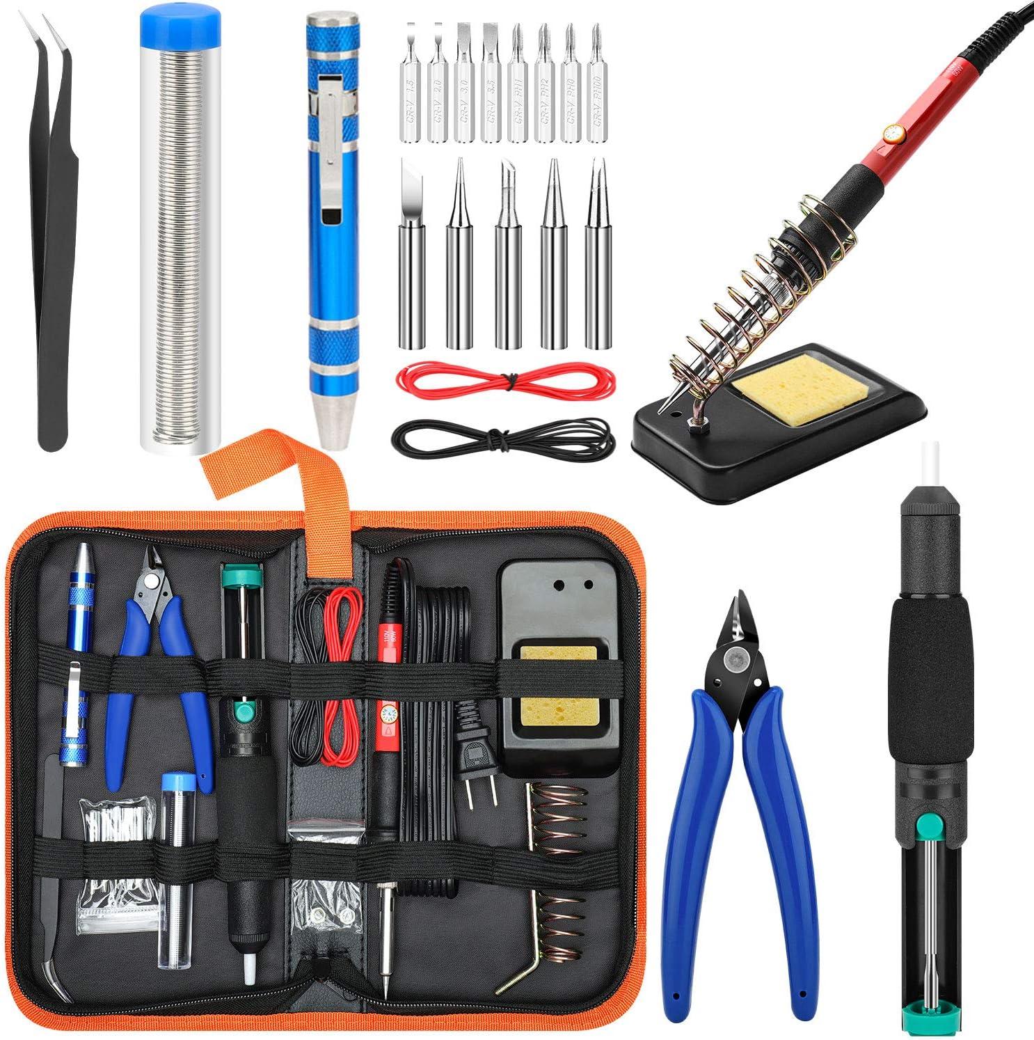 ENJOHOS Kit de Soldado El/éctrico Soldador Kit Soldador Set Temperatura Ajustable 60W Herramienta de Soldadura con Digital Multimeter