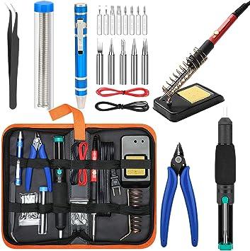 Negro Enchufe de la UE Herramientas de Soldadura de Temperatura Ajustable Calentador de Cer/áMica para Soldar Rojo Nrpfell Kit de Soldador LCD de 220 V 80 W